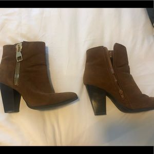 Camel ankle booties with zipper